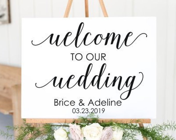 Wedding Welcome Decal with Names and Date Welcome to our Wedding Sign Vinyl Decal for DIY Sign Elegant Wedding Decor Modern Minimalist