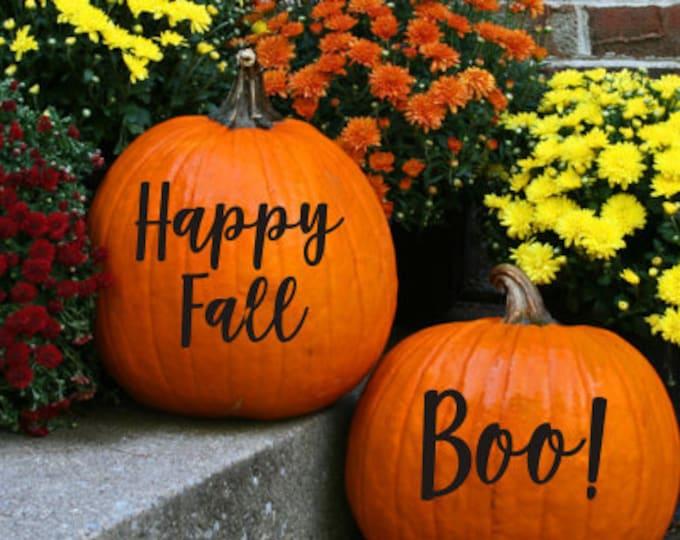 Pumpkin Decal Happy Fall Boo Vinyl Decals for Pumpkins Home Decor Fun Halloween Decor Fall Decals for Pumpkins Curb Appeal Seasonal Decals