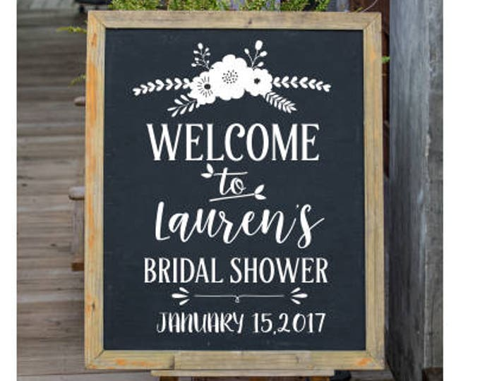 Bridal Shower Decal Personalized Wedding Shower Vinyl Decal for Chalkboard Decal for Bride Shower Trendy Floral Decal Rustic Floral Wedding