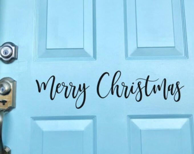 Merry Christmas Decal Door Vinyl Holiday Seasonal Vinyl Decal for Door Porch Decor Curb Appeal Holiday Christmas Decor Rustic Farmhouse