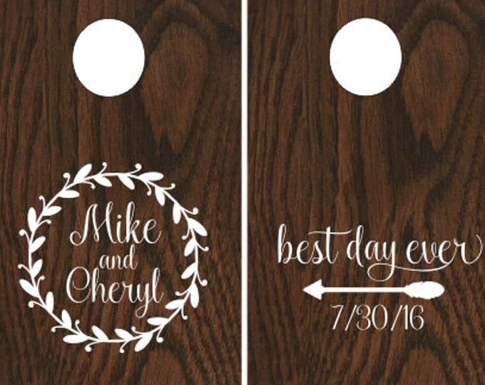 Rustic Wedding Decals Cornhole Board Decals Vinyl Decals Rustic Barn Wedding Decor Twig Wreath Arrow Trendy Wedding Decals Set of Two Decals