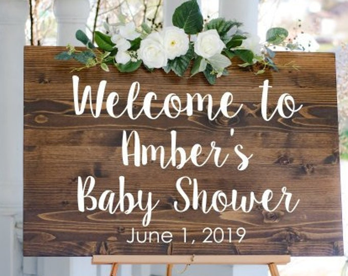 Baby Shower Decal for Sign Welcome to Baby Shower Vinyl Decor Baby Shower Sign Vinyl Personalized Welcome for Mirror or Chalkboard