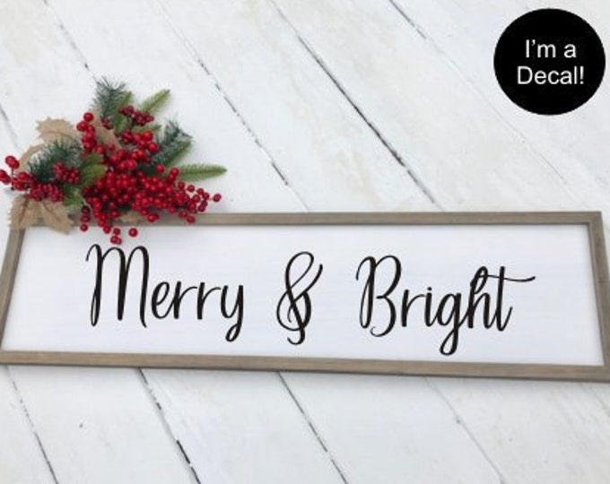 Merry and Bright Decal Christmas Decal Rustic Farmhouse Decal for Holidays Seasonal DIY Decal for Board Sign Chalkboard Holiday Decor