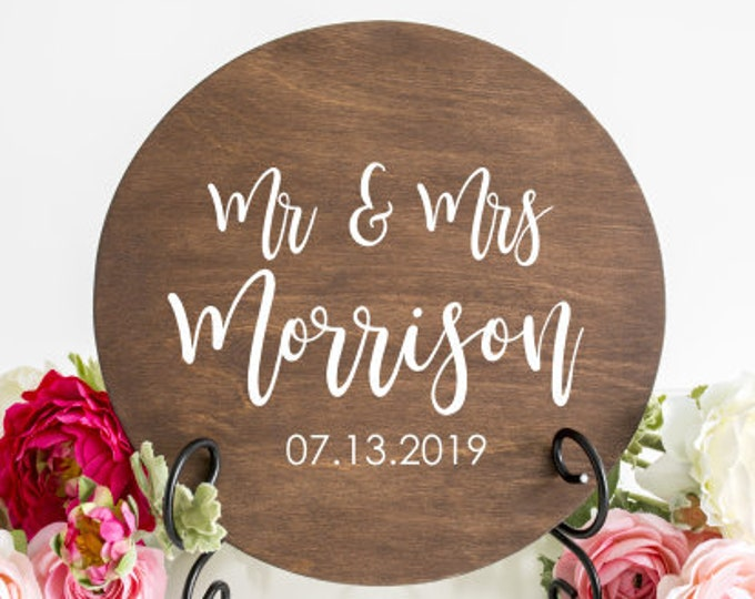 Mr and Mrs Wedding Decal Last Name with Date Vinyl for Wedding Sign Decal for Mirror Chalkboard Modern wedding Vinyl Decal Personalized