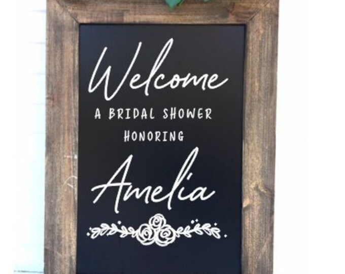 Bridal Shower Decal for Sign Bridal Shower Decor Welcome Bridal Shower Honoring Personalized Decal Floral Rustic Handwritten Decal