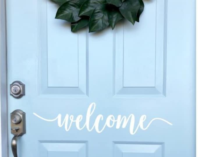 Welcome Door Decal Vinyl for Front Door Greeting Welcome Decal Front Porch Home Decor Vinyl Welcome Sign Lettering