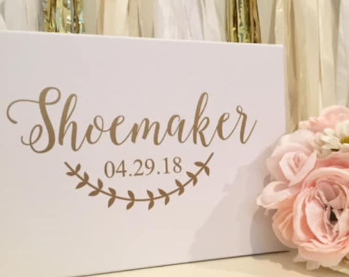 Wedding Name Decal -Name and Date with Laurel- Rustic Wedding Decor -Blush and Gold Vinyl Decal- Personalized Guest Book Decal -Many Sizes