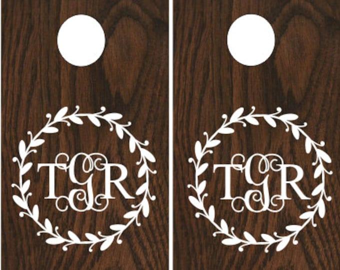 Monogram Cornhole Decals Corn Toss Decals DIY Rustic Wedding Decals Rustic Barn Wedding Decor Vinyl Decals Set of Two Personalized Wedding