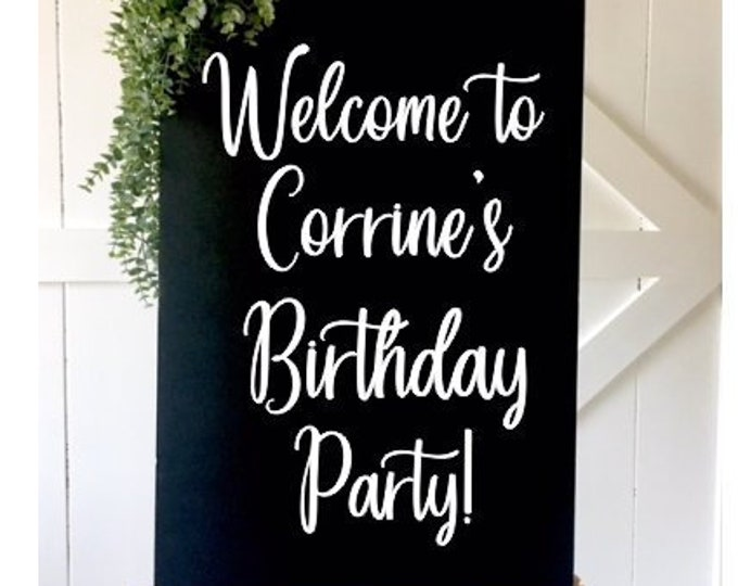 Birthday Party Decal Vinyl Decor for Party Birthday Party Sign Decal Welcome Decor Personalized Sign Decal for Birthday Celebration