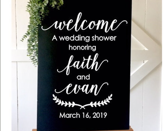 Wedding Shower Decal Couples Wedding Shower Sign Personalized Couples Shower Wedding Decorations Elegant Decal DIY Lettering for Welcome