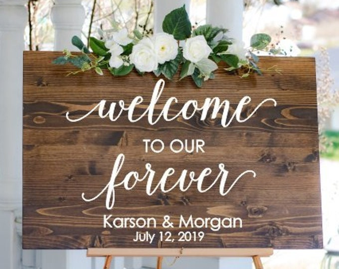 Welcome Wedding Decal Welcome to our Forever Wedding Sign DIY Lettering Personalized Decor for Modern Wedding Minimalist Rustic Barn Wedding