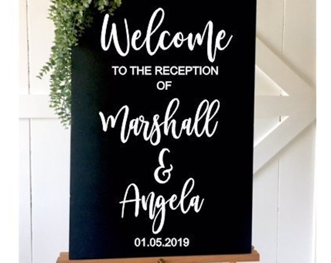 Welcome Wedding Reception Decal-Vinyl Decal for Bride and Groom-Wedding Reception Sign-Modern Decor for Wedding-Handwritten Vinyl-DIY