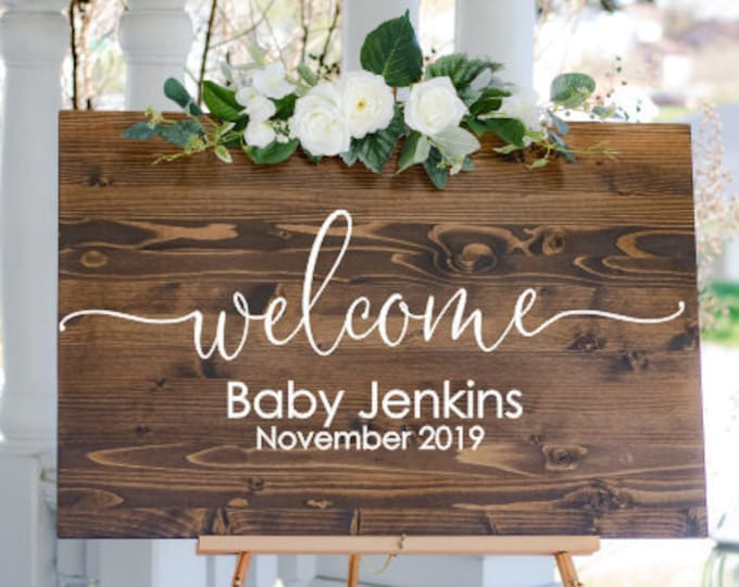 Welcome Baby Decal Vinyl Decor for Baby Shower DIY Lettering Decal for Sign Making Baby Shower Welcome Sign Vinyl Personalized Shower Decor