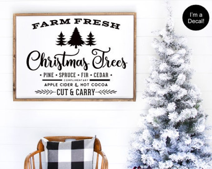 Farm Fresh Christmas Trees Decal- DIY Vinyl for Christmas Sign- Farmhouse Holiday- Christmas Decorations Decal Only-Lettering for Chalkboard