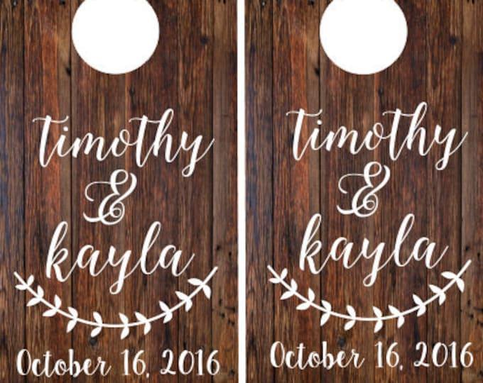 Wedding Cornhole Decals Personalized Wedding Rustic Wedding Decals Rustic Cornhole Decals Names and Dates Bride and Groom Barn Wedding DIY