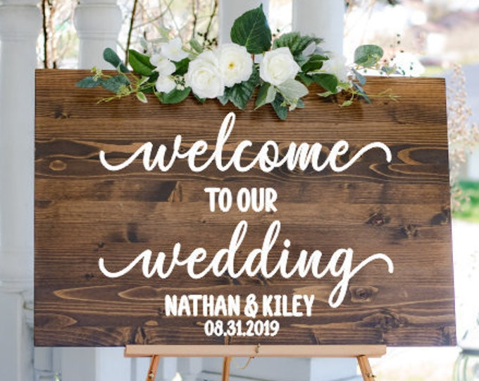 Wedding Decal for Sign Vinyl Decal Wedding Welcome Decal for Mirror or Chalkboard Rustic Wedding Sign Wedding Decor Personalized Vinyl