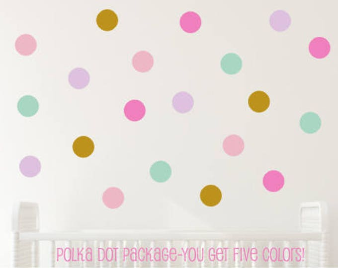 Polka Dot Decals- Peel and Stick- Set of Dot Vinyl Decals- Five Colors- Unicorn Room- Unicorn Themed Girls Bedroom- Nursery Wall- Dot Decals