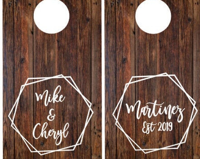 Cornhole Board Decals Set of Two Decals for Wedding Cornhole Game Modern Hexagon Wedding Decals for Cornhole Boards Vinyl Decal Names Date