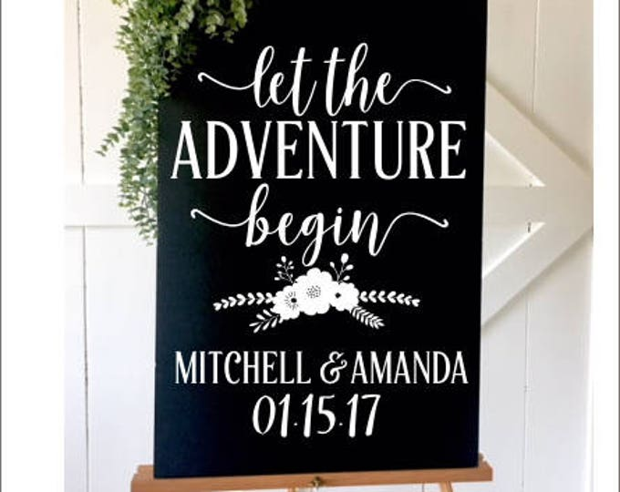 Floral Wedding Deal Let the Adventure Begin Personalized Wedding Decal DIY Vinyl for Chalkboard Wedding Rustic Wedding Decal for Board Boho