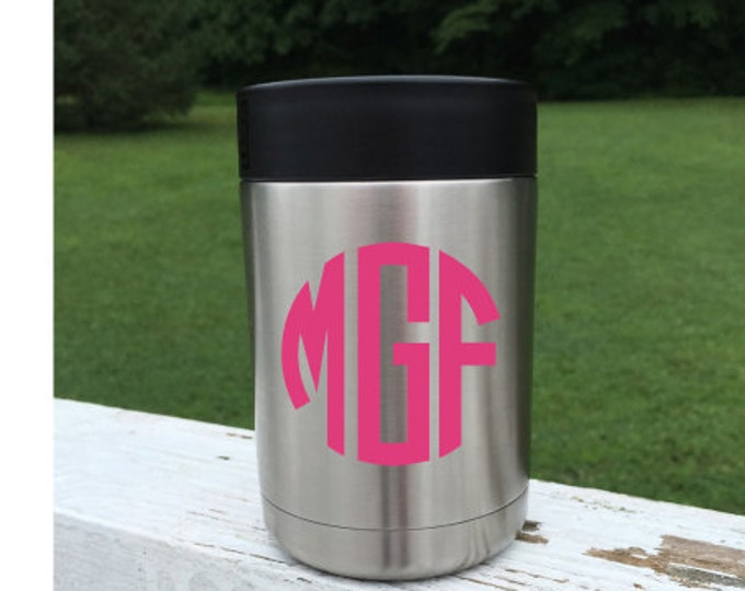 Monogram Decal for a Can Cooler Can Cooler Decal Coffee Cup Decal Decal for Stainless Bottle Cooler Decal for a Woman Three letter decal