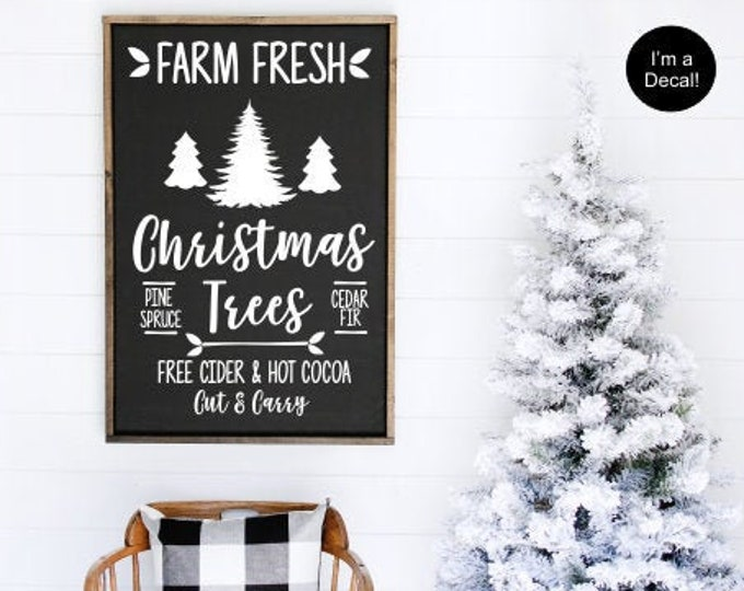 Farm Fresh Christmas Trees Decal for Chalkboard Christmas Vinyl for Sign Making DIY Christmas Tree Sign Rustic Farmhouse Decal Holiday Decor