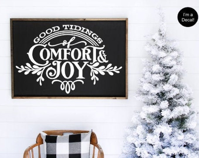 Good Tidings of Comfort and Joy Decal Vinyl Decor Christmas Sign Vinyl DIY Lettering Holiday Decal for Chalkboard Christmas Decor Wall Decal
