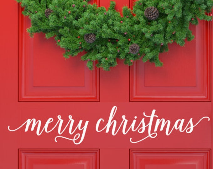 Merry Christmas Vinyl Decal Christmas Door Decal Vinyl Decor for Holiday Sign Making Door Sticker Christmas Porch Curb Appeal Seasonal