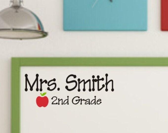 Teacher Name Decal Classroom Decor Name and Grade with Apple Gift for Teacher Christmas Gift Idea School Classroom Door Decal