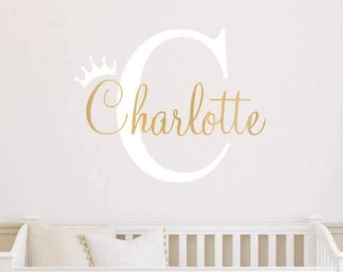 Princess Crown Wall Decal Girls Name Initial and Crown Vinyl Wall Decor Set Gender Neutral Wall Sticker for Girls Nursery or Bedroom