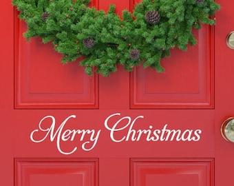 Welcome Door Merry Christmas Vinyl Decal Sticker Outside Custom Yard Decoration