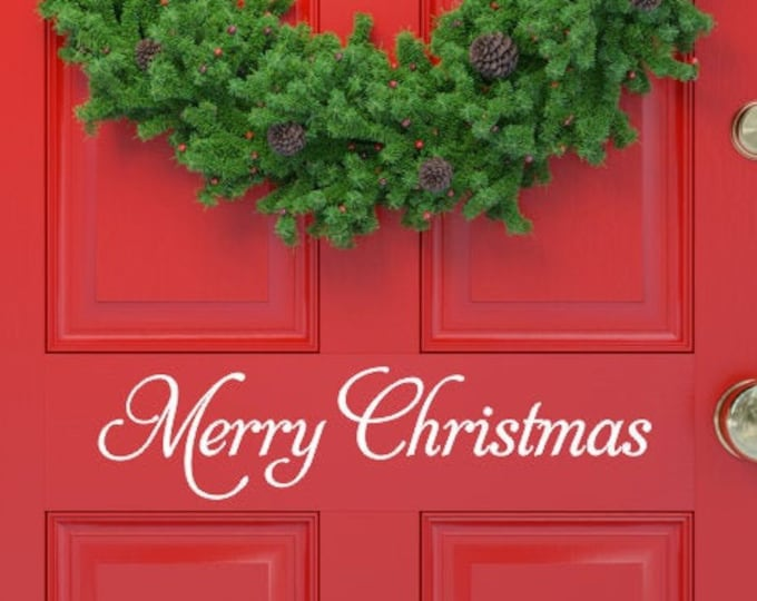 Merry Christmas Decal Christmas Vinyl Decal Wall Decal Door Decal Holiday Decal Holiday Decor Christmas Decor Vinyl Door Decal Decoration