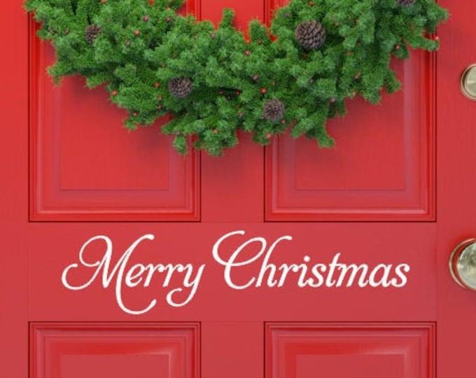 Merry Christmas Decal Christmas Vinyl Decal Wall Decal Door Decal Holiday Decal Holiday Decor Christmas Decor Vinyl Door Decal Decoration