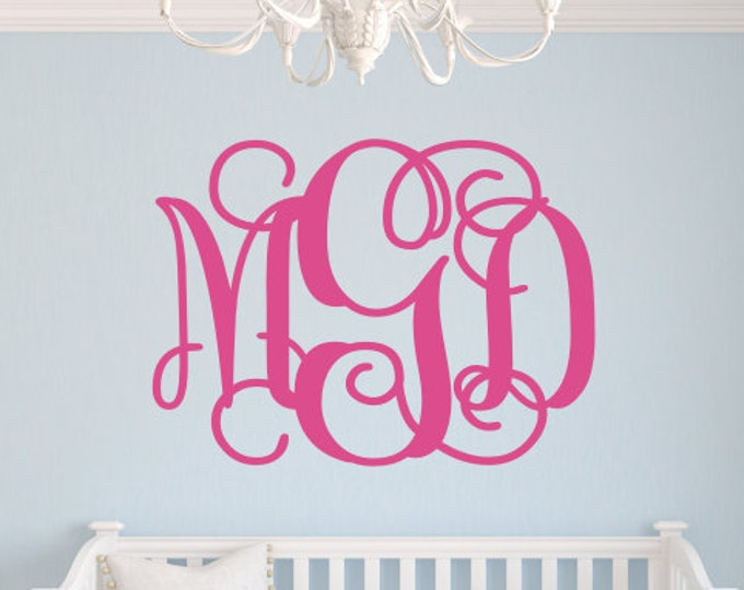 Monogram Wall Decal Vinyl Decor for Wall Large Vine Monogram Preppy Wall Initials Vinyl Decor for Teen Bedroom 23x30