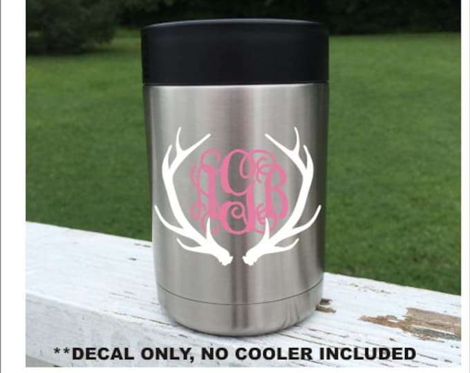 Can Cooler Decal Monogram For Drink Cooler Stainless Steel Decal Decal For Cup Decal for Tumbler Monogram for Can Cooler Monogram Decal