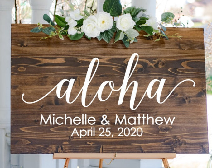 Aloha Wedding Decal for Sign Hawaiian Beach Wedding Vinyl Decal for Mirror or Chalkboard Aloha with Names and Date Decal