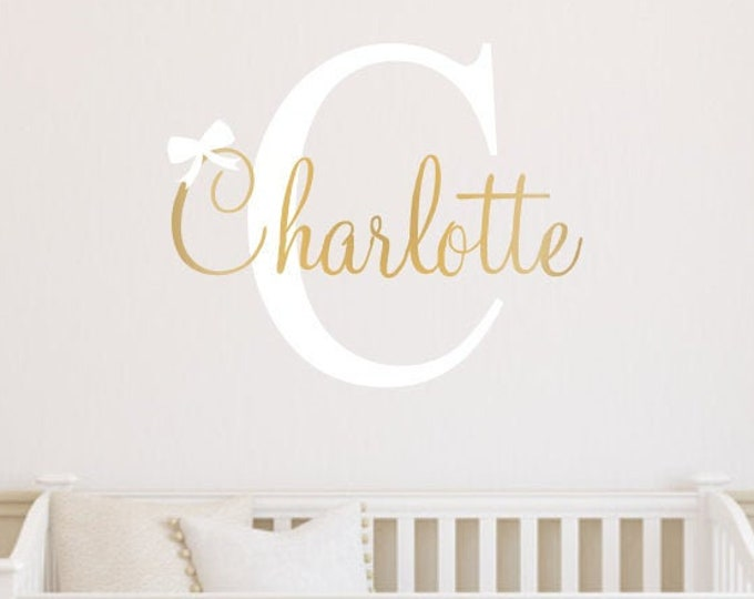 Girls Name Decal Gender Neutral Bedroom Decor Initial Name and Bow Vinyl Wall Decal for Nursery