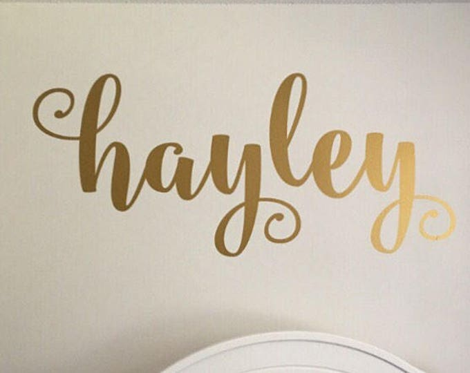 Name Wall Decal- Personalized Vinyl Decor-Girls Wall Decoration-Gold Name Decal-Curly Script-Personalized Nursery Wall