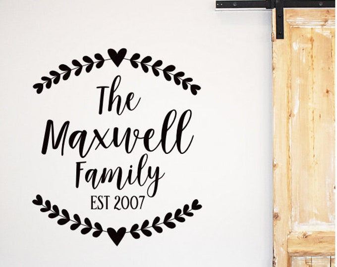Farmhouse Wall Decal Personalized Family Name and Established Date Year Vinyl Wall Decor Decal for Wall Frame Rustic Laurel with Heart Decal