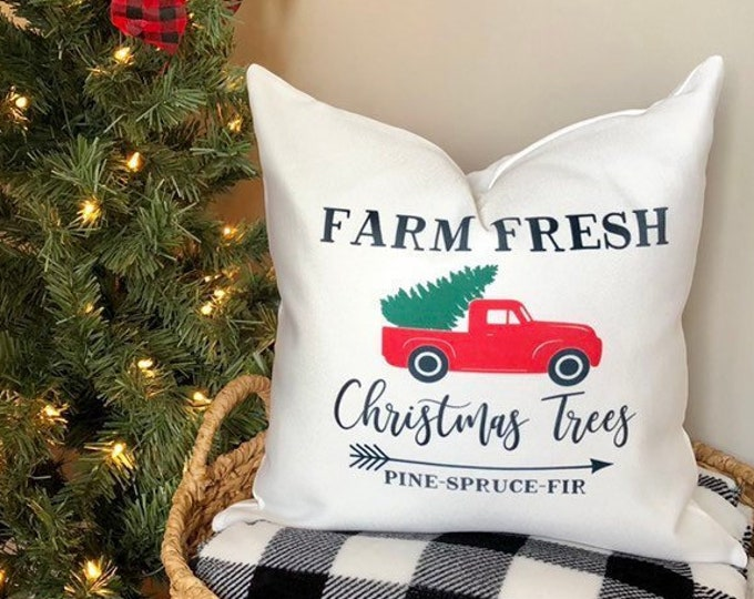 Christmas Pillow Cover-Holiday Pillows-Rustic Farmhouse Pillow-Vintage Red Truck Pillow-Christmas Decorations-Christmas Gift- Holiday Decor