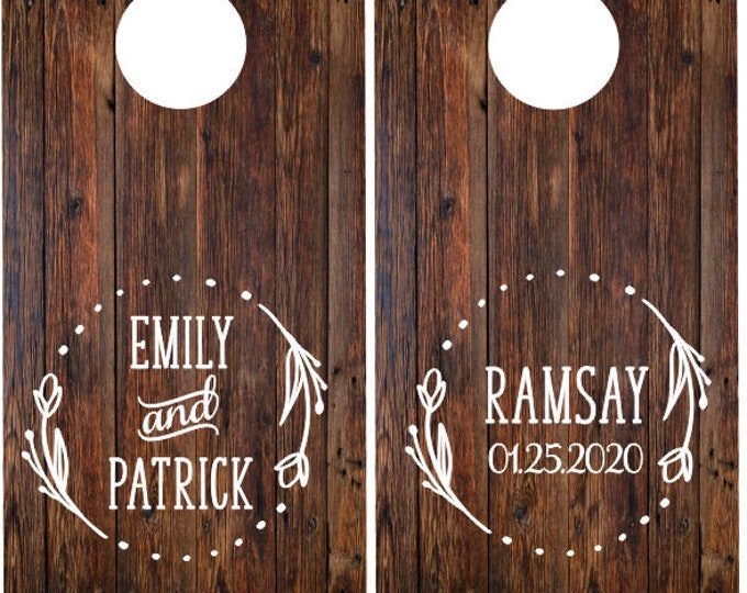 Wedding Cornhole Decals Rustic Floral Vinyl Decals for Wedding Cornhole Game Boards Personalized Names and Date Decals Set of Two
