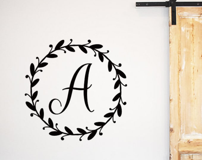 Farmhouse Monogram Decal Family Name Initial Laurel Wreath Decal for Wall Vinyl wall Decal Rustic Farmhouse Personalized