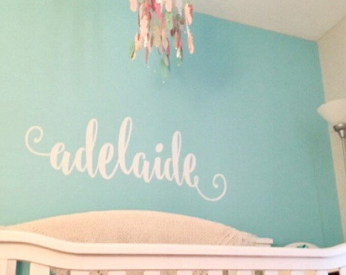 Girls Name Decal Wall Decor for Nursery Bedroom Vinyl Cottage Rustic Handwritten Wall Decal Gold Nursery Decal Copper Name All Lowercase
