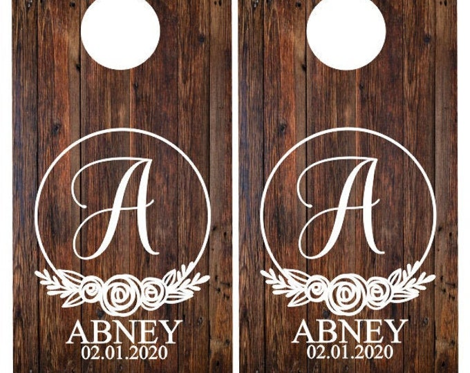 Wedding Cornhole Decals Vinyl Decals for Cornhole Game Rustic Floral Wedding Decals Personalized Name and Established Year Wedding Decor
