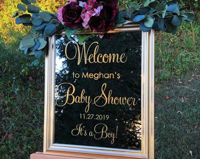 Welcome Baby Shower Decal Vinyl Decal for Baby Shower Sign Personalized Shower Decor Welcome Sign Vinyl DIY Lettering for Mirror Chalkboard