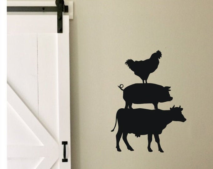 Farmhouse Kitchen Decal Cow Pig Chicken Vinyl Wall Decal Rustic Farmhouse Decor Vinyl for Wall of Kitchen or Sign Making
