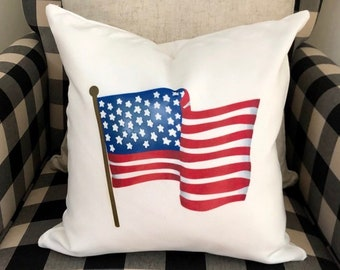 d312aa9222ff American Flag Pillow Cover Americana Home Decor Pillow Cover Watercolor Flag  Decorative Pillow for Sunroom or Patio Home Decor July 4th