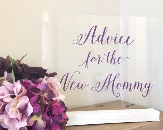 Advice for the New Mommy Decal Vinyl Decor for Baby Shower Mommy Advice Vinyl Sticker Baby Shower Vinyl Decal Purple Lilac Girl Baby Shower