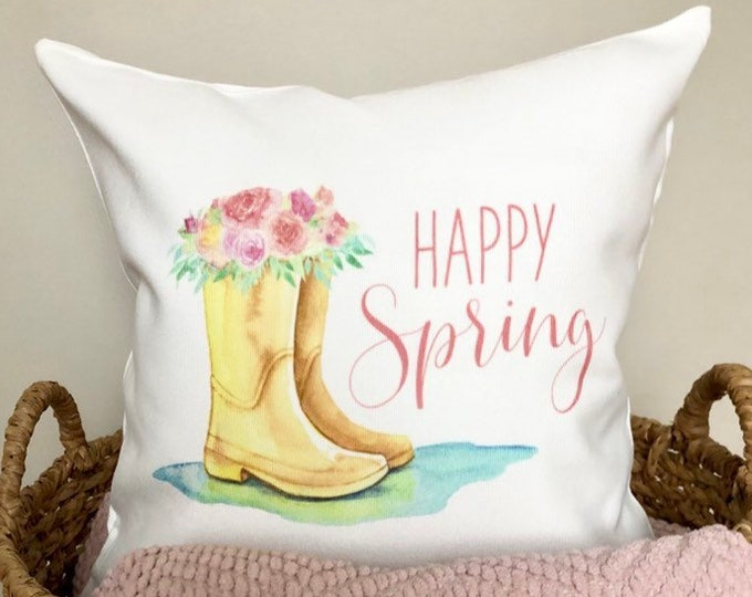 Happy Spring Pillow Cover Easter Pillowcase Spring Rain Boots Floral Pillow Home Decor Rustic Pillow Spring Rain Easter Floral Decoration