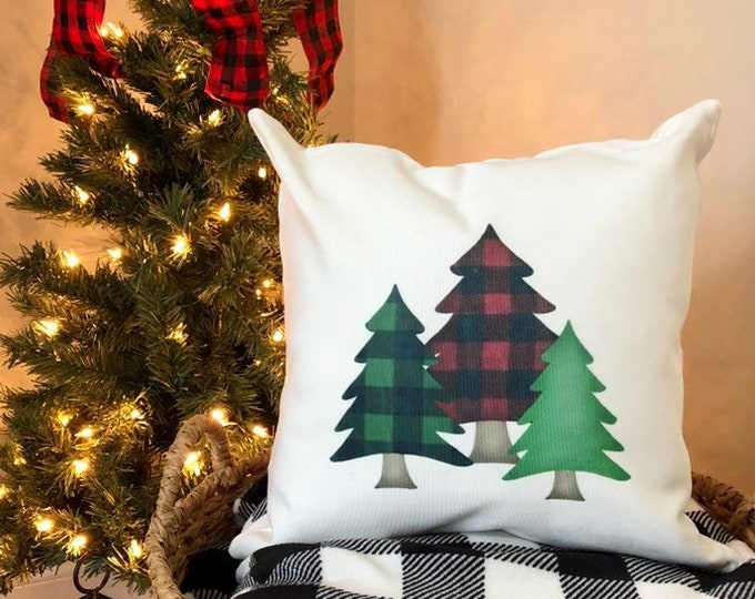Christmas Pillow Cover-Holiday Decorations-Christmas Tree -Buffalo Check Pillow Cover-Red and Black Plaid- Holiday-Farmhouse Style-Gift