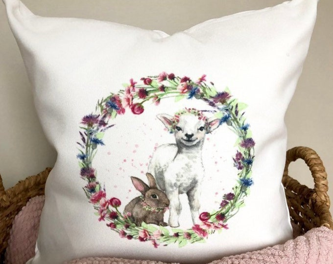 Easter Pillow Cover Spring Pillowcase Easter Lamb and Bunny Pillow Rustic Decor Home Decor Easter lamb Pillow Cover Floral Wreath Pillow